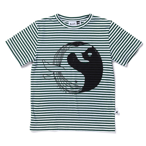 Minti Whale World Tee - Green Stripe