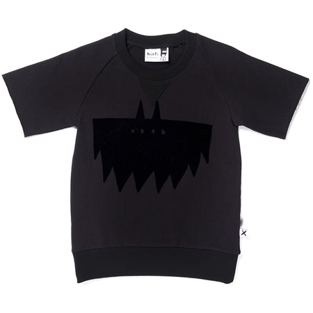Minti Flocked Bat Crew - Black