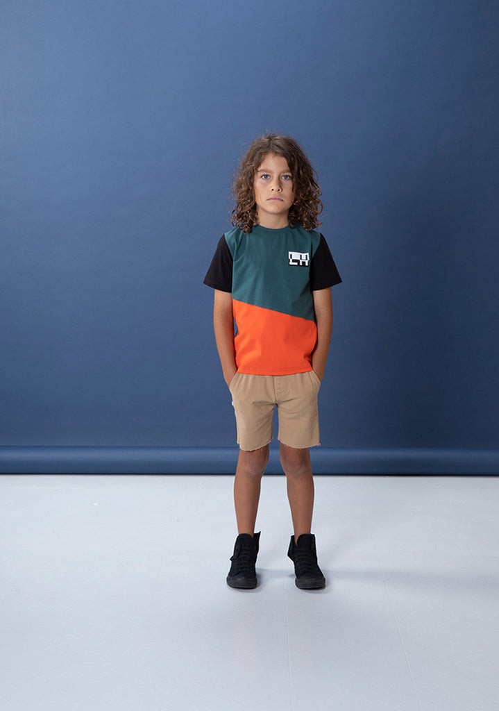 Littlehorn Jagged Tee - Dark Green/Orange/Black