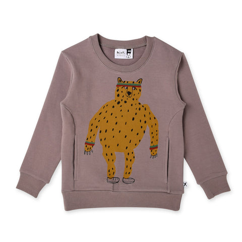 Minti Sporty Cheetah Furry Split Crew