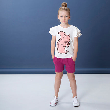 Littlehorn Rosy Squirrel Tee - White