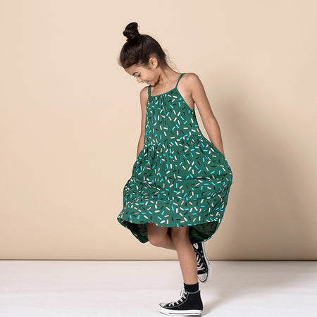 Minti Confetti Woven Dress - Emerald