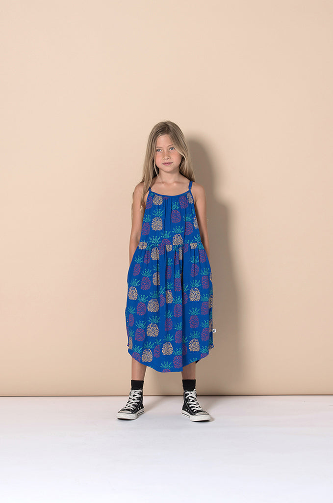 Minti Pineapples Woven Dress - Electric Blue