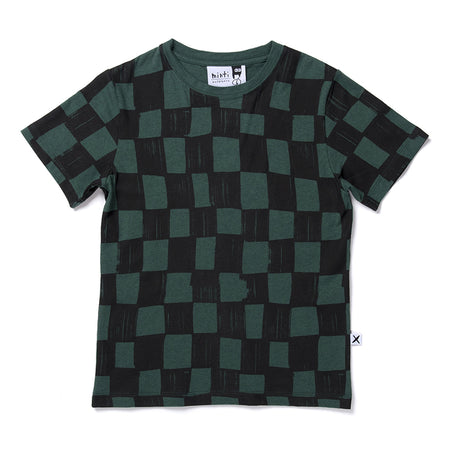 Minti Checkers Tee - Forest Marle