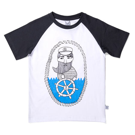 Littlehorn Captain Raglan Tee - White/Black