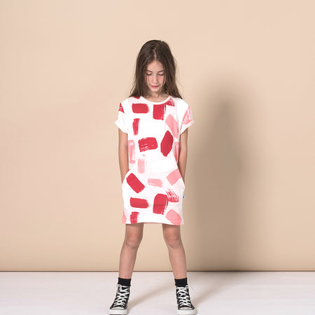 Minti Paint Rolled Up Tee Dress - Ballet
