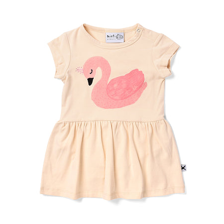 Minti Sleepy Swan Onesie Dress - Cream