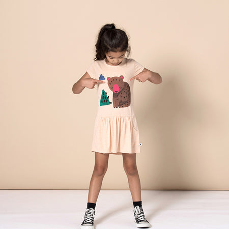 Minti Bear Cub Dress - Apricot Marle