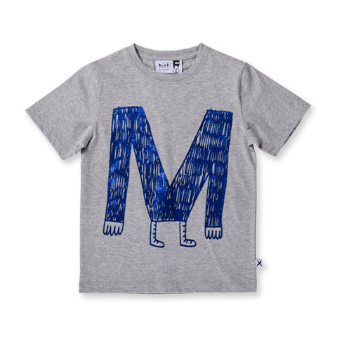 Minti M Monster Tee - Grey Marle