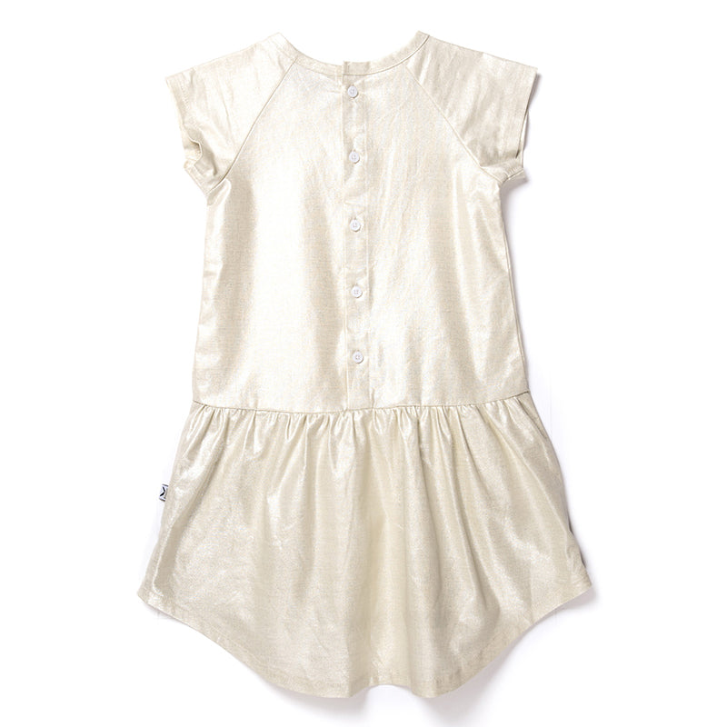 Minti Shimmer Dress - Gold Linen