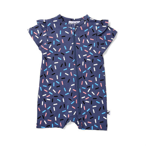 Minti Confetti Frilly Zippy Suit - Midnight