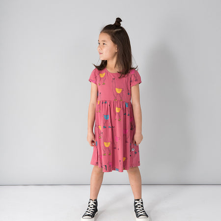 Minti Skating Llamas Empire Dress - Rose