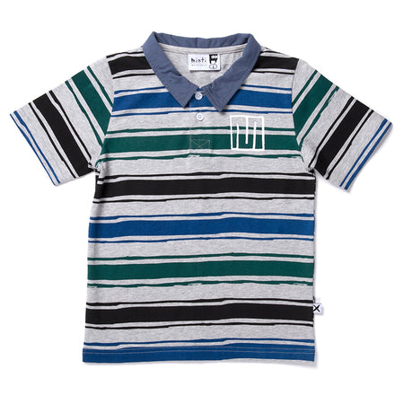 Minti Chalk Stripe Rugby Tee - Grey/Black/Blue