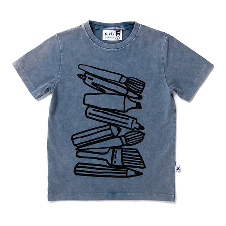 Minti Pen Stack Tee - Blue Wash