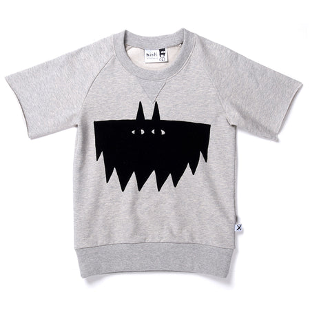 Minti Flocked Bat Crew - Grey Marle