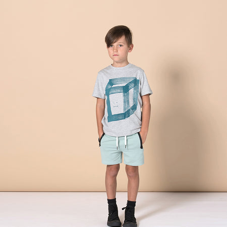 Minti Happy Cube Tee - Grey Marle