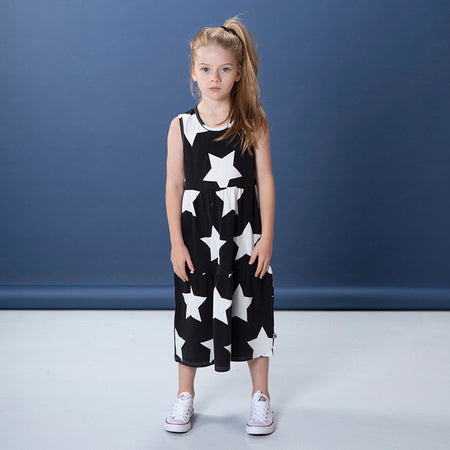 Littlehorn Stars Maxi Dress - Black