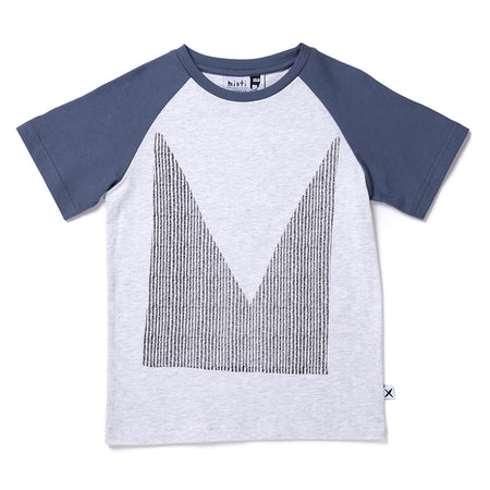 Minti Cut Up M Raglan Tee - White Marle/Midnight