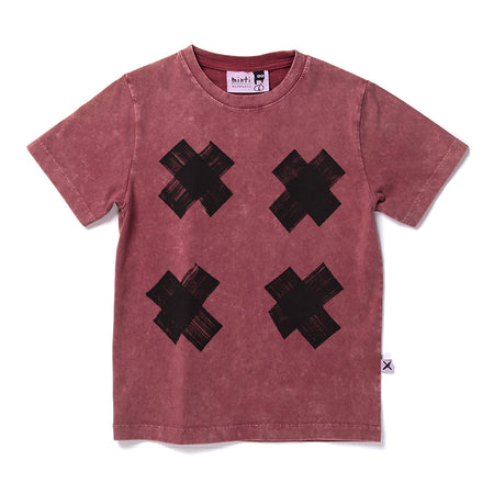Minti Criss Cross Tee - Burnt Red Wash