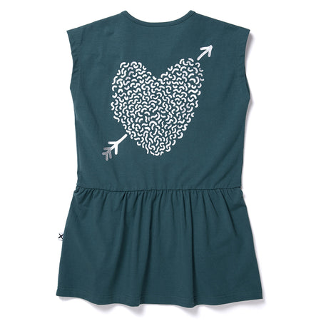 Minti Sketch Heart Domed Dress - Forest