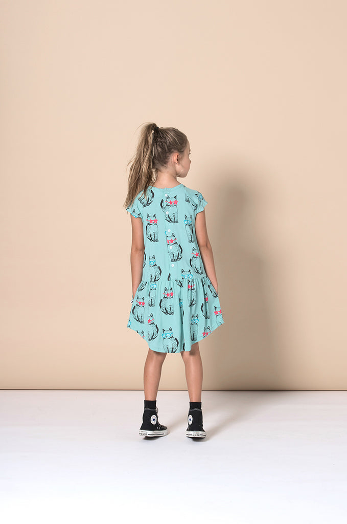 Minti Cool Cats Woven Dress - Mint