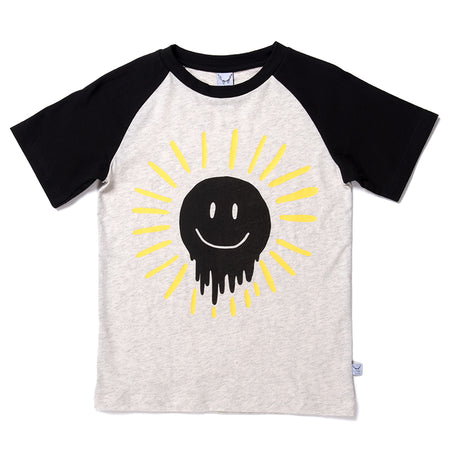 Littlehorn Dripping Sun Raglan Tee - Light Grey/Black