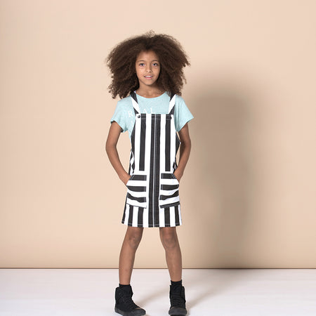Minti Mono Pinafore - Black Stripe