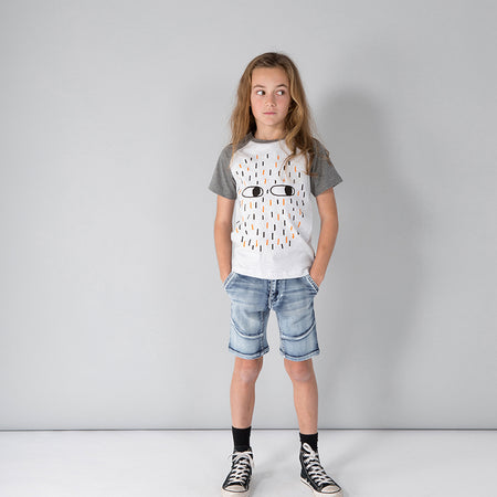 Minti Duotone Monster Tee - White Marle/Charcoal
