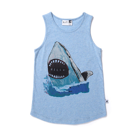 Minti Painted Shark Singlet - Blue Marle