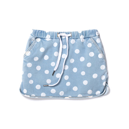 Minti Dotty Denim Skirt - Blue Dots