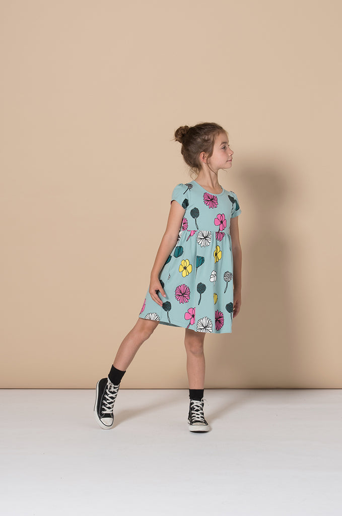Minti Daisies And Other Things Dress - Muted Green