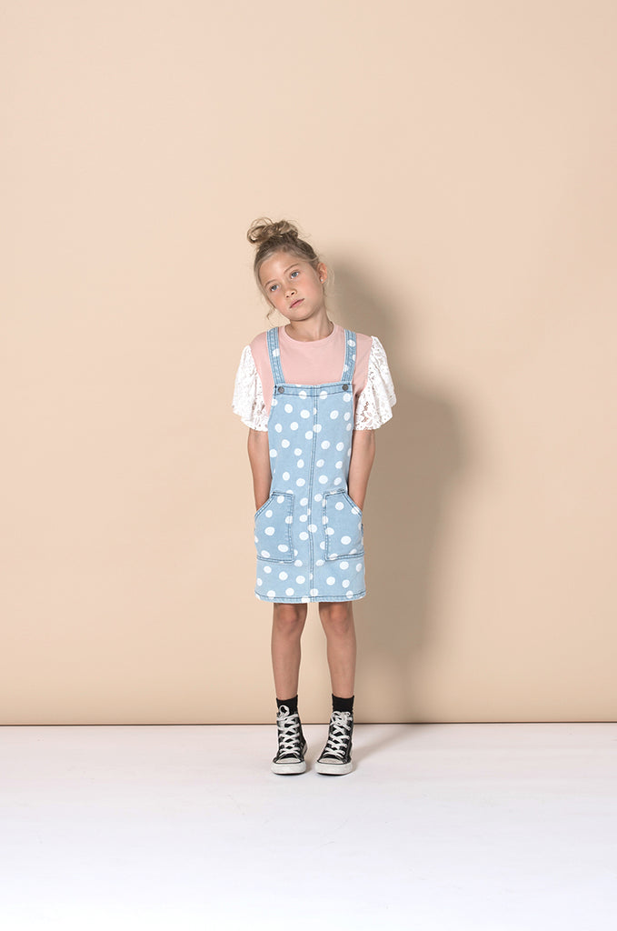 Minti Dotty Denim Pinafore - Blue Dots