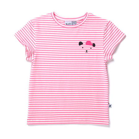 Minti Cool Bear Tee - Raspberry Stripe