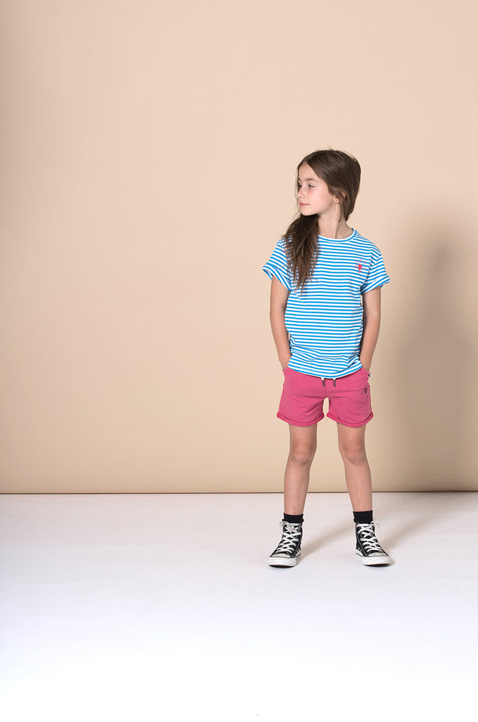 Minti Stripey Logo Tee - Electric Blue Stripe