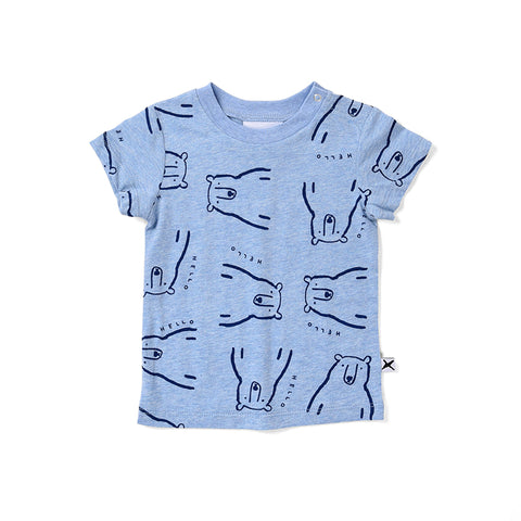 Minti Bear Party Tee - Blue Marle