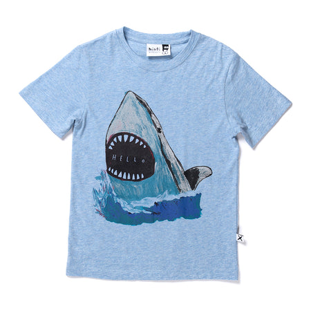 Minti Painted Shark Tee - Blue Marle