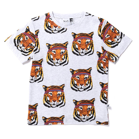 Minti Sporty Tigers Tee - White Marle