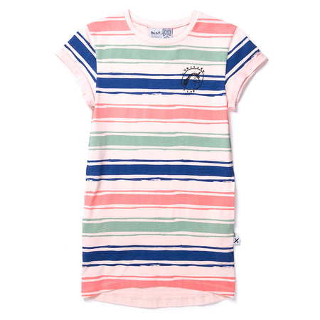 Minti Chalk Stripe Tee Dress - Ballet