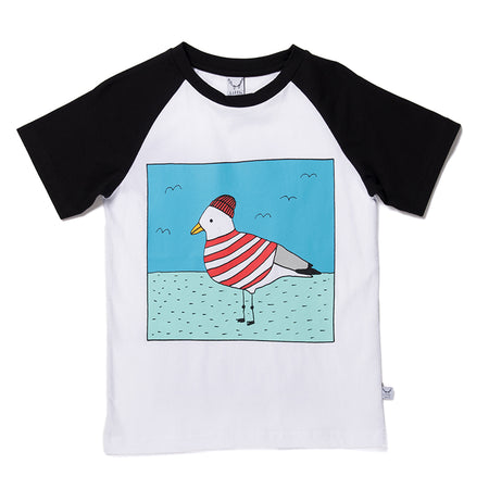 Littlehorn Skipper Gull Raglan Tee - White/Black