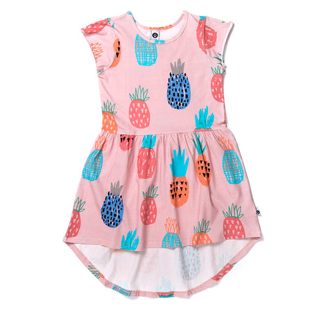 Littlehorn Colourful Pineapples Dress - Powder Pink