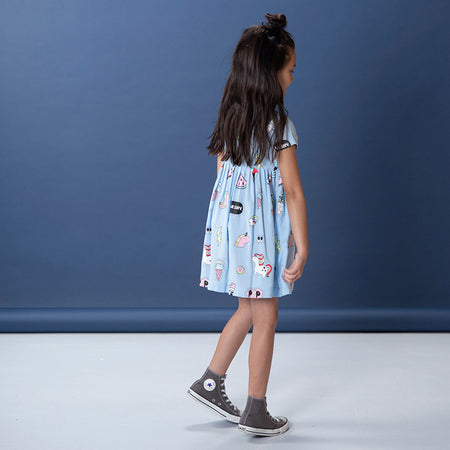 Littlehorn Badges Woven Dress - Powder Blue