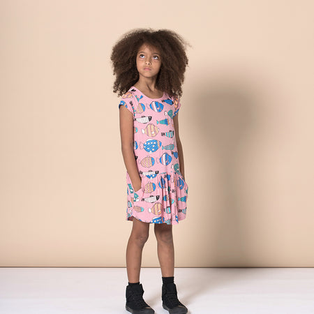Minti Fish Life Woven Dress - Rose