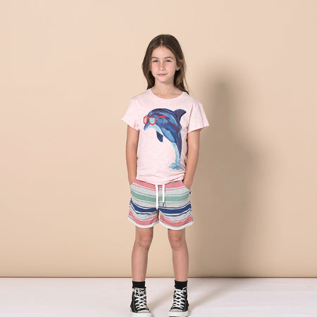 Minti Painted Dolphin Tee - Pink Marle