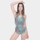 CRUSH Blue Scoop Out One Piece With Frange