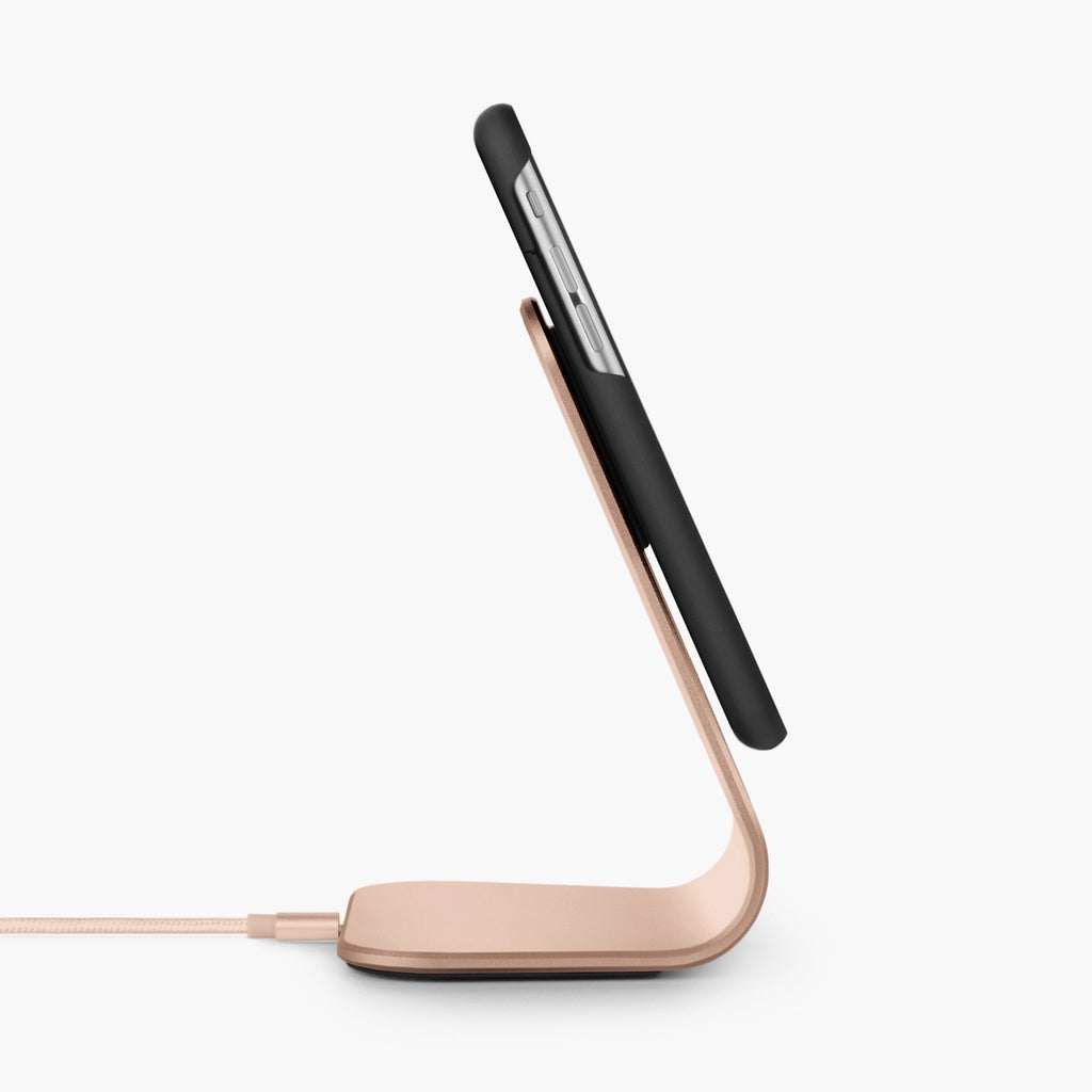 Trådløs ladestativ bordlader office set kit magnetisk Qi lade etui til iPhone 6, iPhone 6s, rose gold