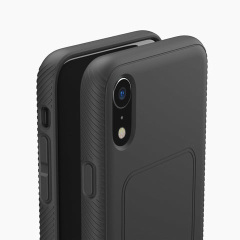 slim protective phone case for iPhone XR black with magnetic back