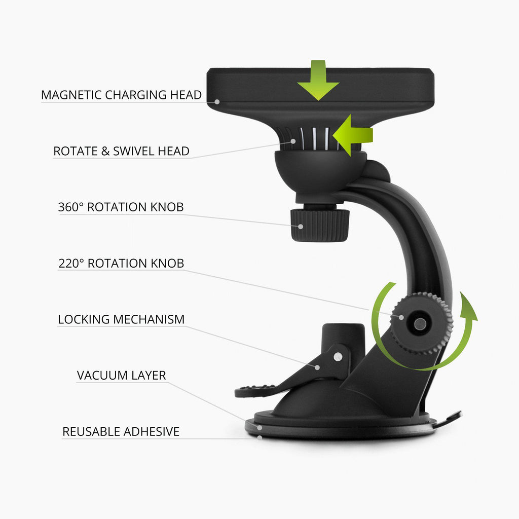 2-1 Car Charger Mount with Qi Wireless Charging built-in cooling fan for iPhone X, Galaxy S9  rotatable adjustable viewing angle
