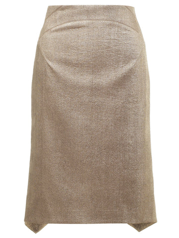 Gold fitted skirt with flaired hem line
