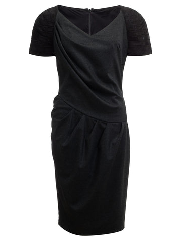 Charcoal grey wool pleated dress with leather trim