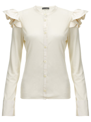 Button down top in Italian matt jersey with Charmeaus ruffles at the shoulder